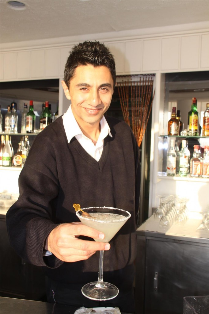 Our Expert Barman at the Manastir Hotel Making Margaritas