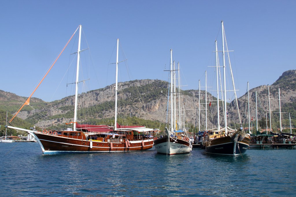 Several Gulets Back in the Gocek Port