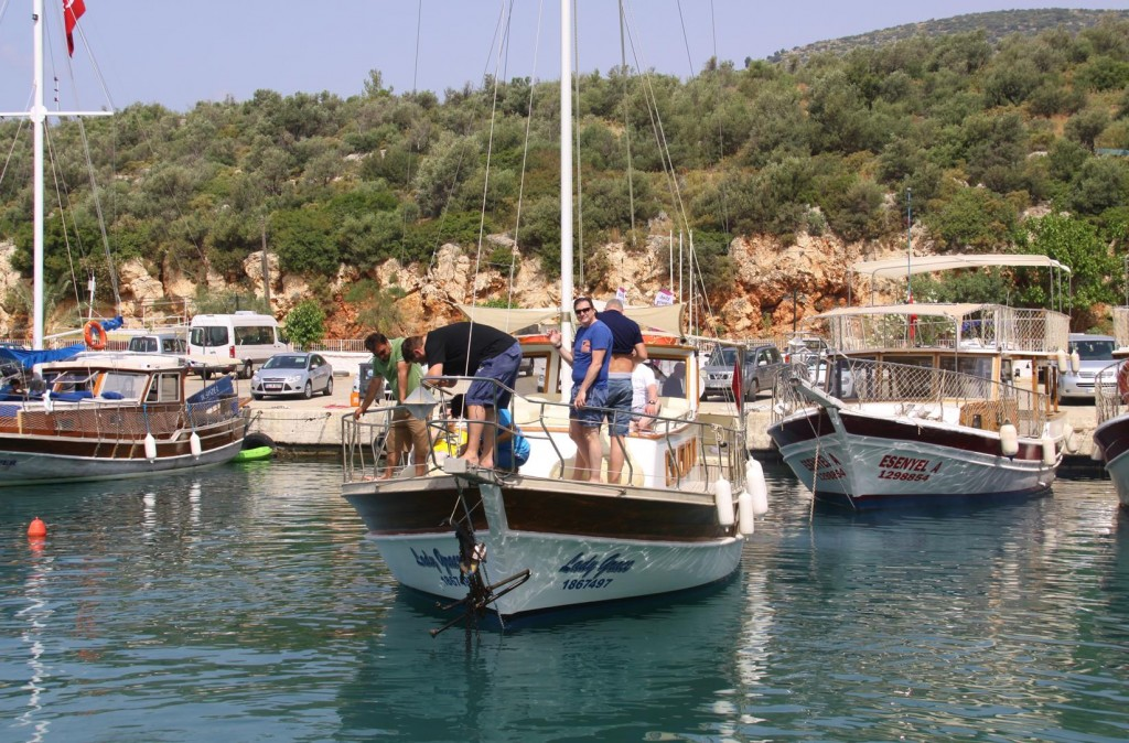 Departing Kalkan, Many Boats get their Chains Tangled Due to the Narrowness of the Port