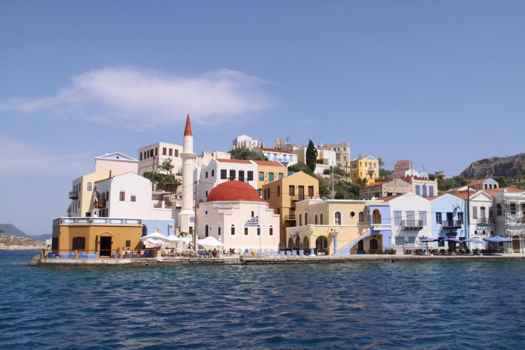 A Mosque Among the Colourful Greek Houses