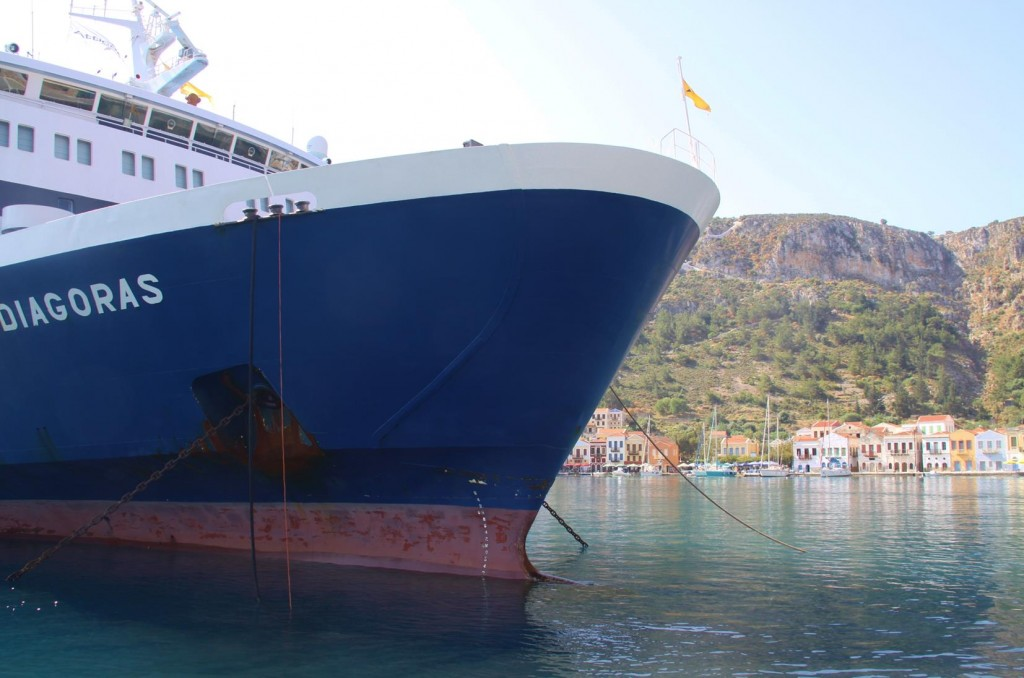 There was very Little Room to Manoeuvre Around the Large Ferry in the Port on our Departure