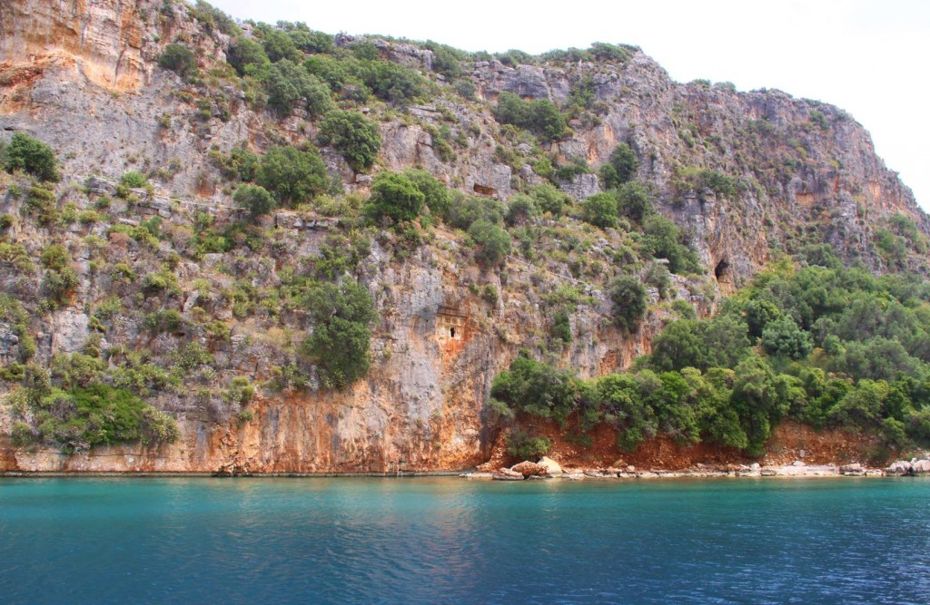 Before Entering Kas Port We Detoured for a Swim by the Nearby Tombs