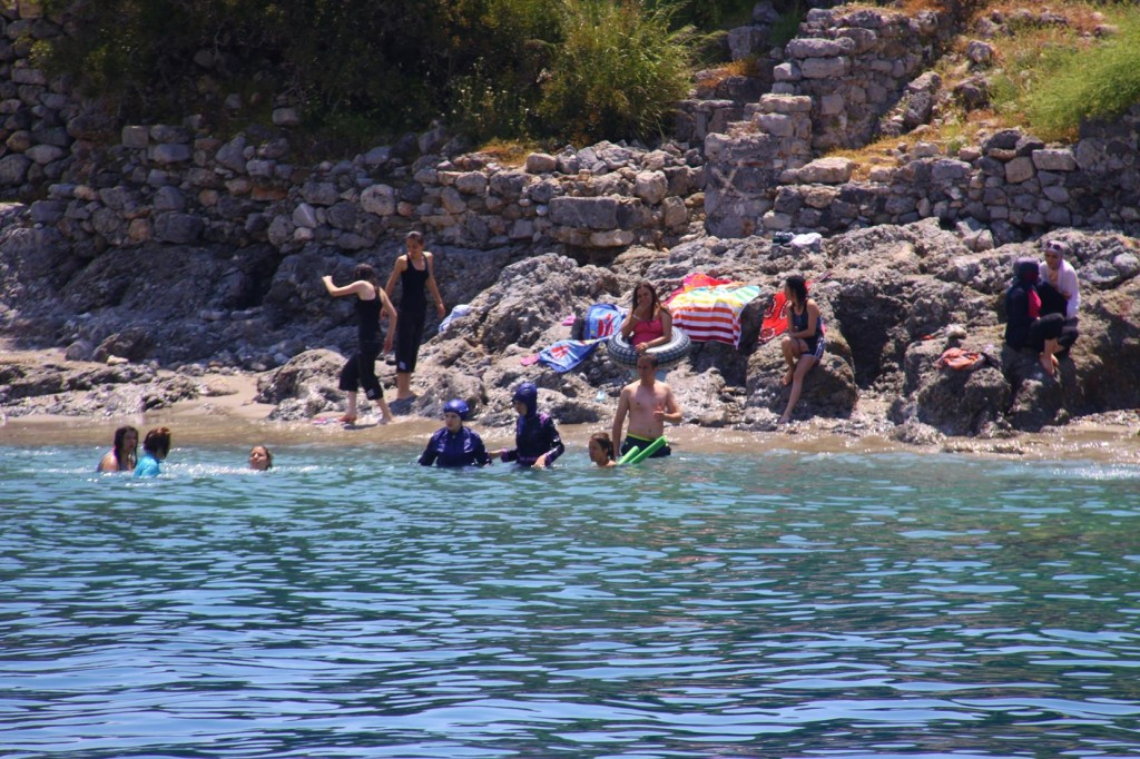 Many Holidaymakers Swimming at the Ancient Island of Gemiler