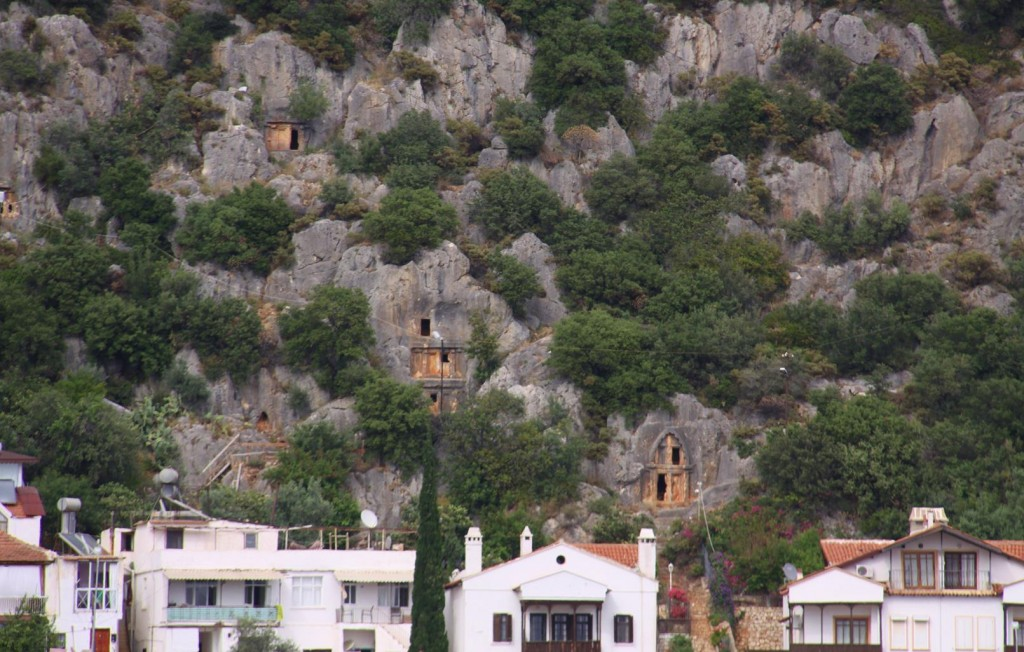 Ancient Tombs Behind Local Houses in Kas