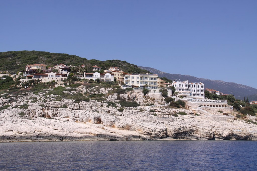 Many Beautiful Houses Perched on Cliffs Approaching Kas