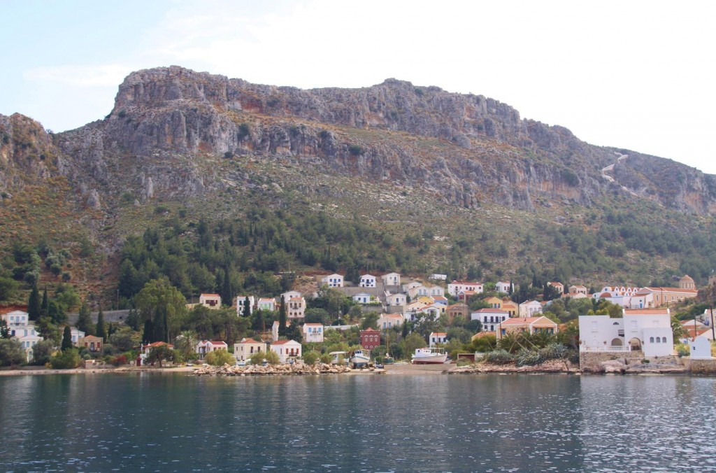 We Decide to Drop Anchor in Mandraki Bay East of the Old Port