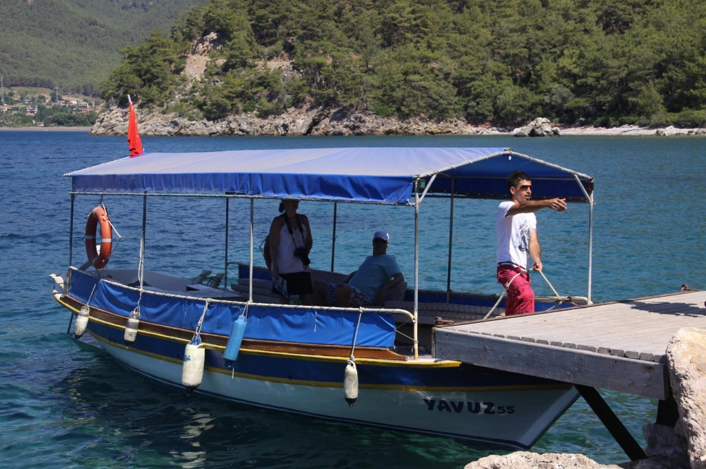 Our Booked Tour Boat for the Dalyan River Arrives to Collect us on Time