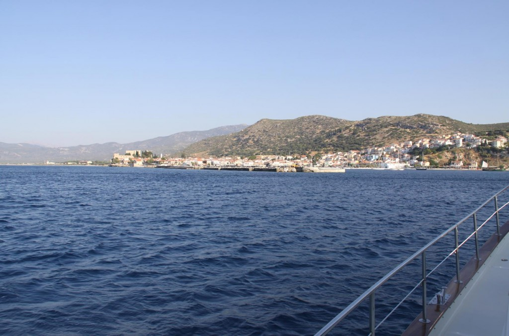 A Couple of Hours Later, Motoring with Reasonably Calm Early Morning Conditions We Approach Samos Island