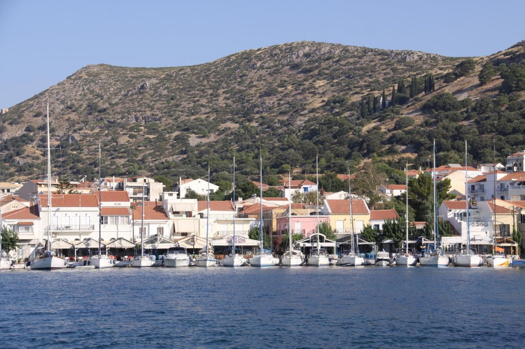 A Flotilla of Yachts Line the Foreshore of the Pithagorion Port