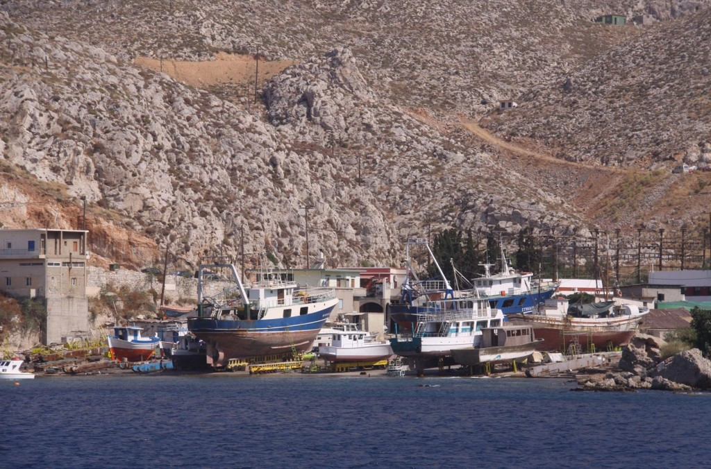 Local Boats Under Maintenance in the Traditional Boat Yard of Lafasi in Pothia (Kalimnos Port)