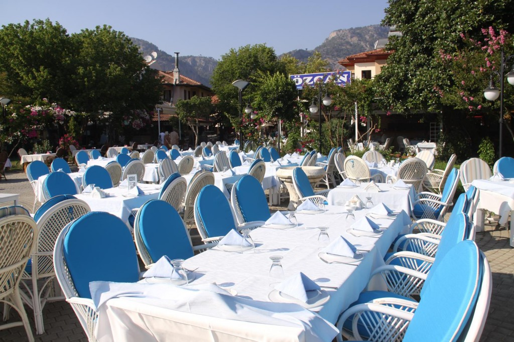 All the Tables at the Restaurants are all Set Up for the Evening Guests