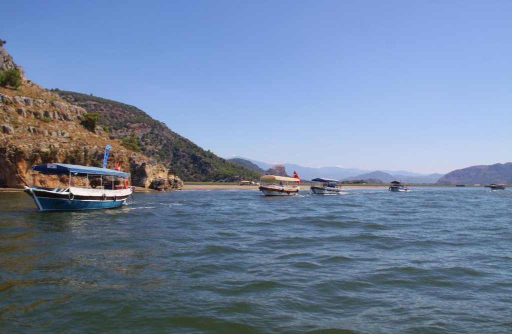 Tour Boats Head Out to Pick Up Passengers from a Couple of Big Boats for the Dalyan River Trip