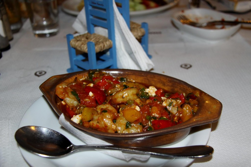 A very Generous Portion of Shrimps Saganaki on the Menu Tonight - Thank Goodness for Doggie Bags !!