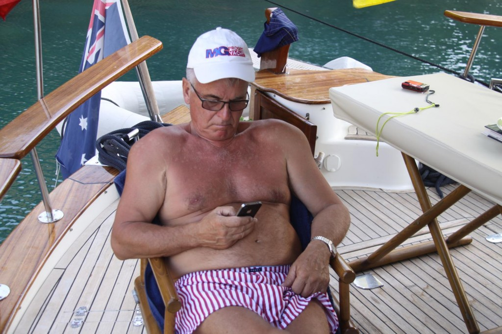 After a Day of Preparing the Boat for the Arrival of Our Guests, Ric Catches up on a Few Emails