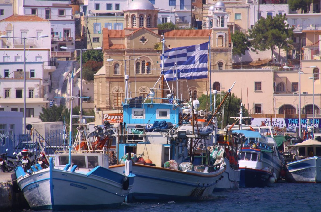 Colourful Fishing Boats Line the Piers in the Harbour of Pothia