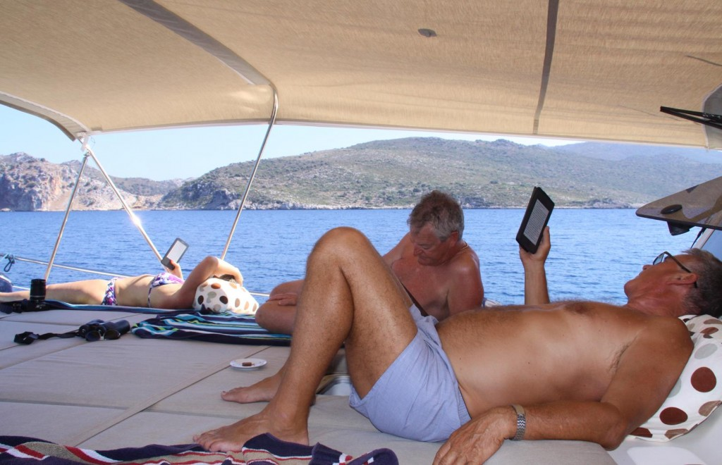 A Lot of Relaxing and Reading gets done Aboard