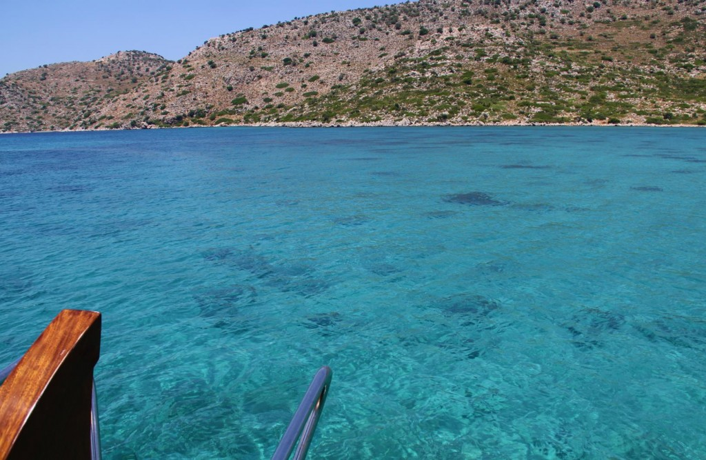 Care has to be Taken While Motoring Through the Shallow Clear Waters of the Kazil Adasi Passage