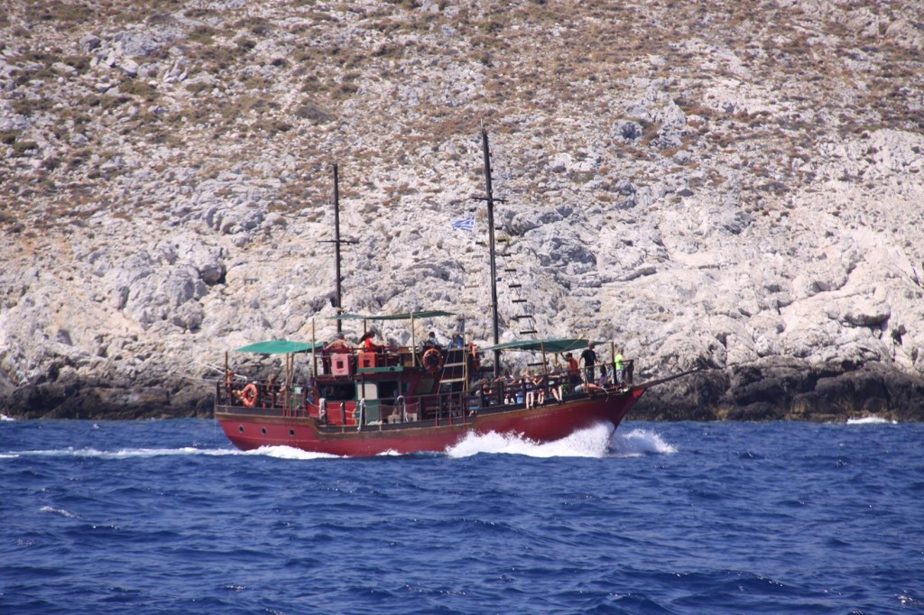 A Day Tripper Boat Heading for Aspronisia