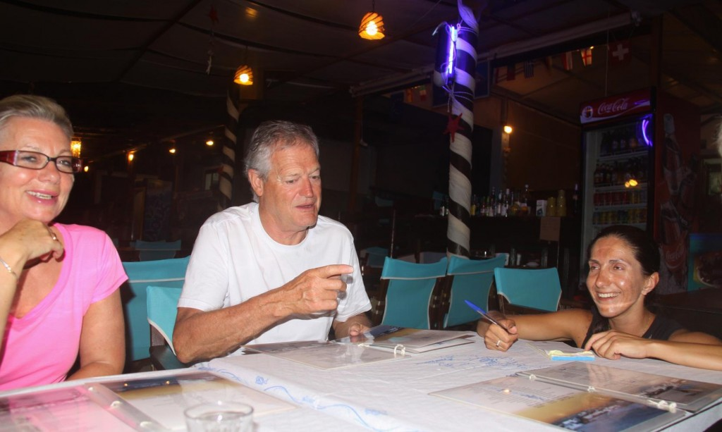 Stamatia, Taverna Owner and Successful Multi Level Marketing Business Woman takes our Order for Dinner