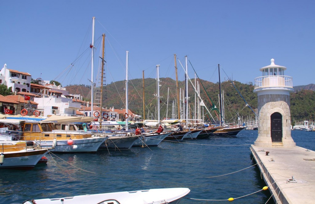 We Ride Past All the Gulets Lined Up in the Port