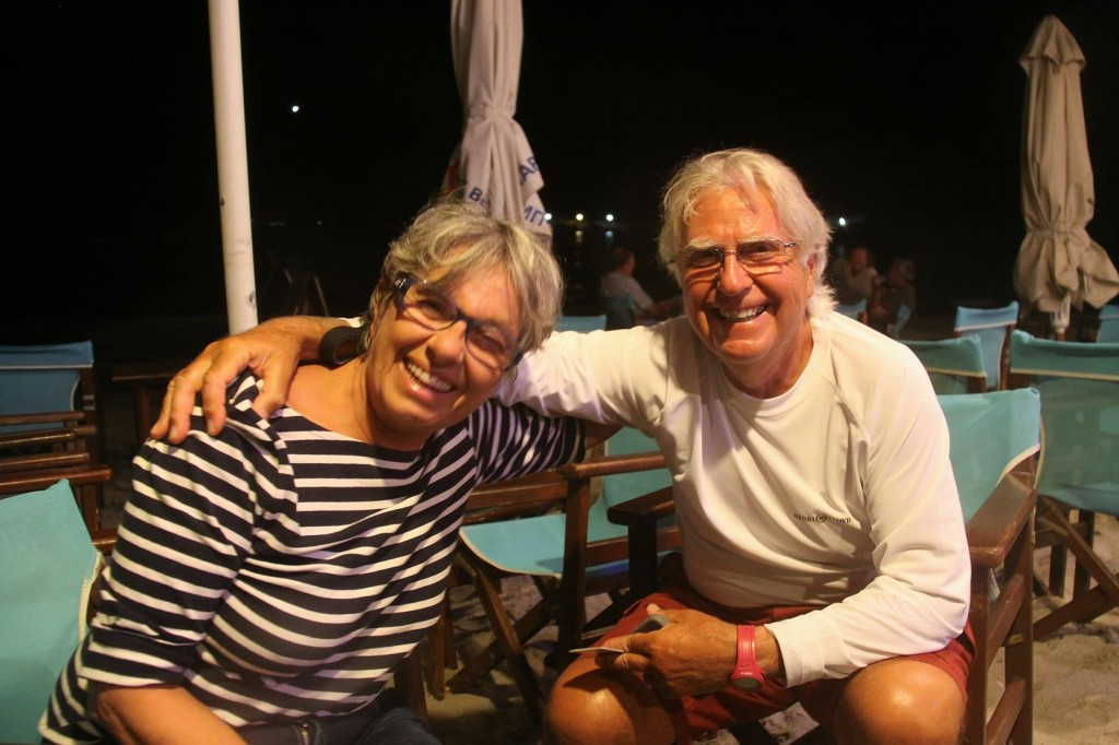 Friendly Italian Sailors Nino and Paola were also Dining at the Sunset Tonight