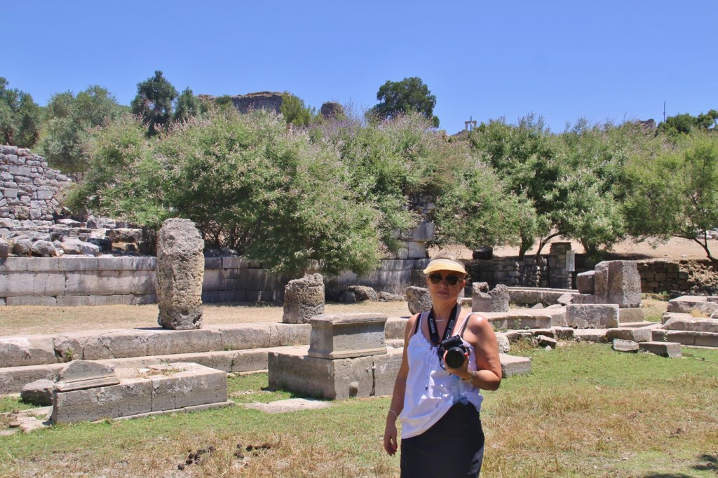 Behind Kate is the Ancient Agora at Kaunos Site