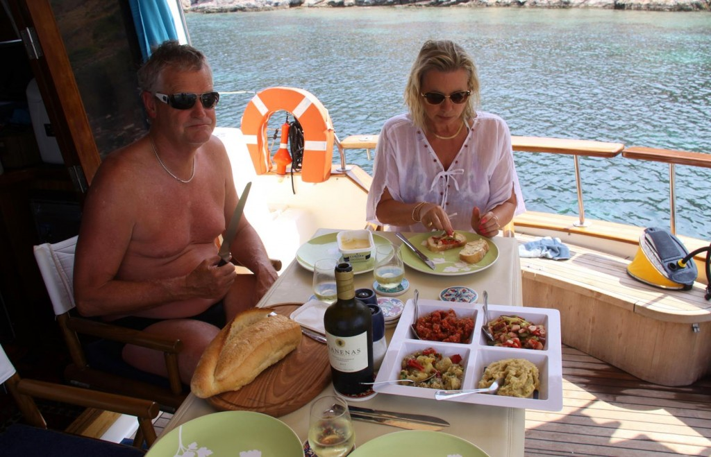 Ric Purchases Some Delicious Mezes from the Restaurant for Our Late Lunch Aboard