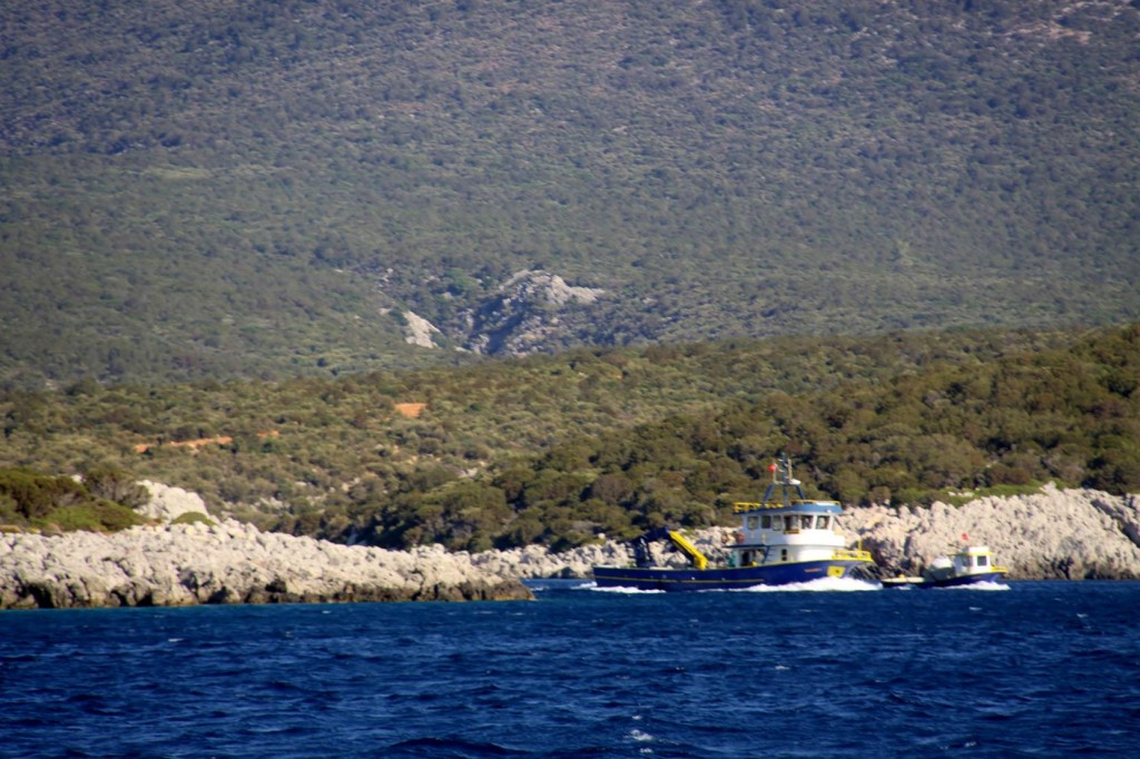 Boats from the Nearby Fish Farms Set Out from Gokkovar Limani