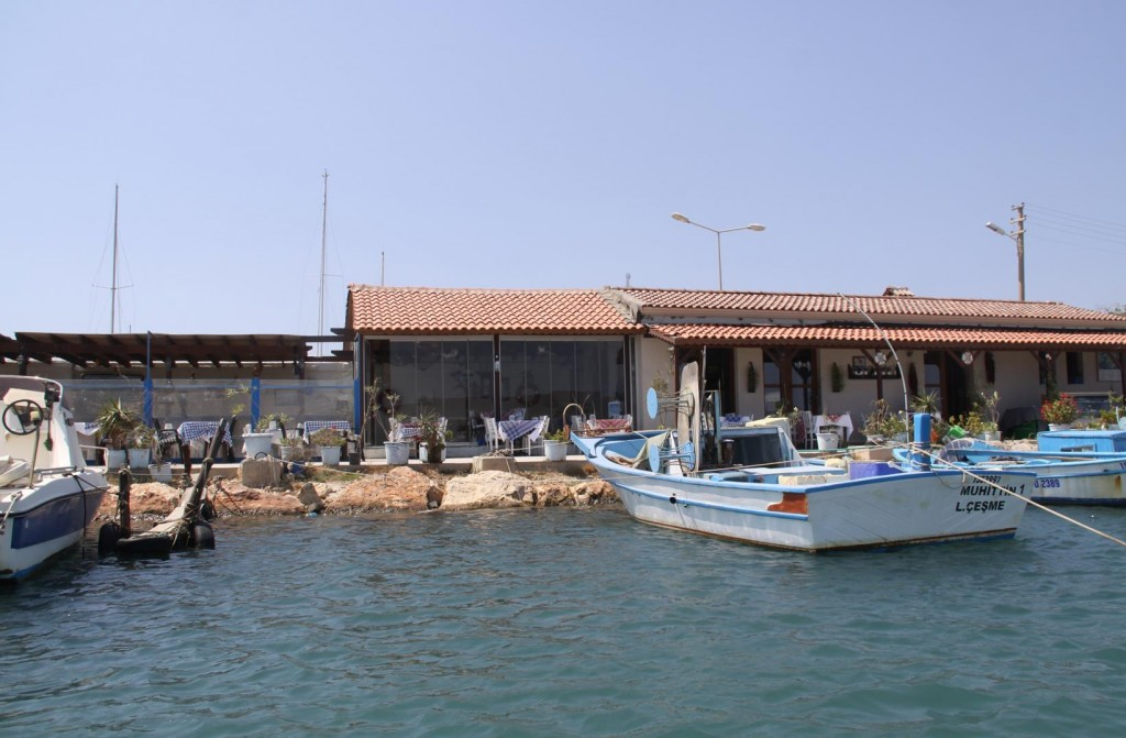 We take Our Dinghy to the Old Port and Tie Up by the Small Restaurant