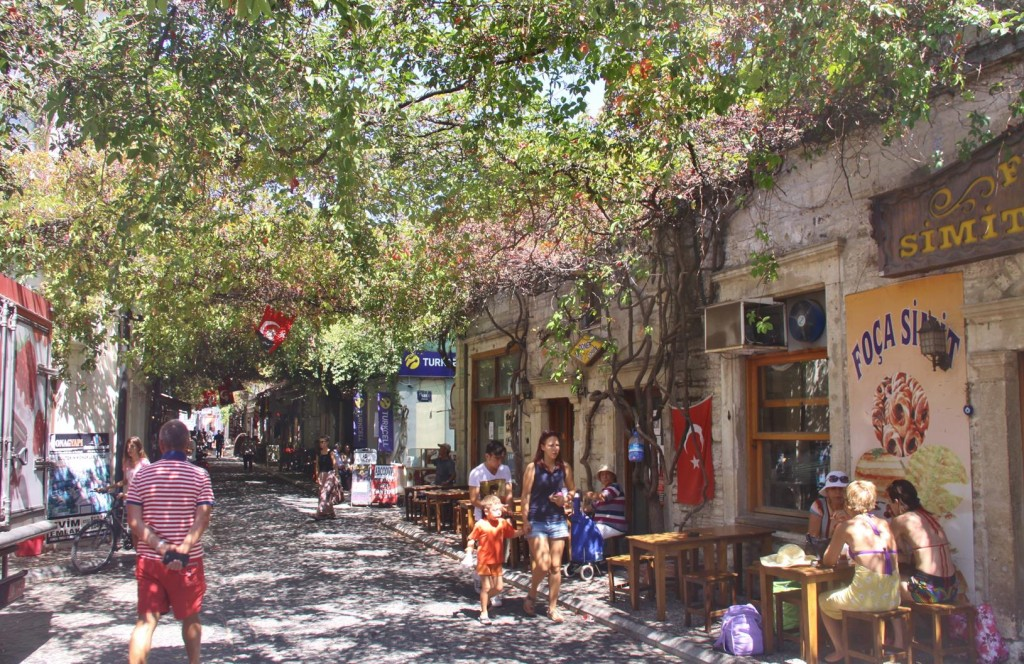 Quaint Vine Covered Streets are Popular for the Sidewalk Cafes