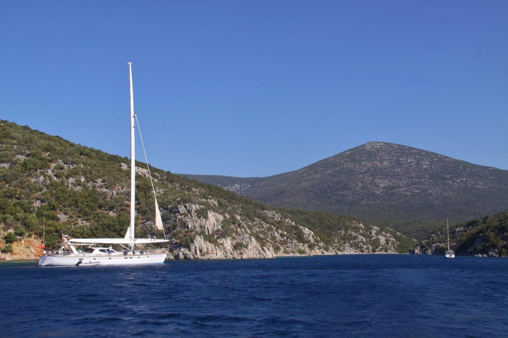 In the Deep Fjord of Gokkovar Limani are a Couple of Yachts which have Anchored Here Overnight
