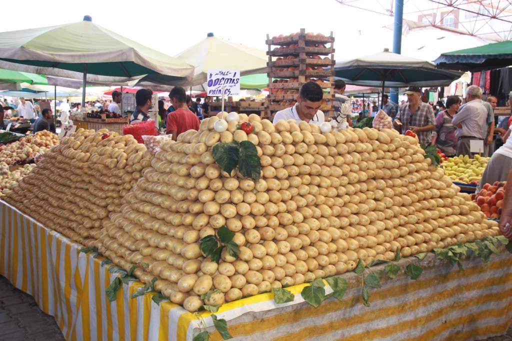 I was Tempted to Pull Out a Few of the Lower Potatoes - This Stall Holder must have been Setting Up at 4am