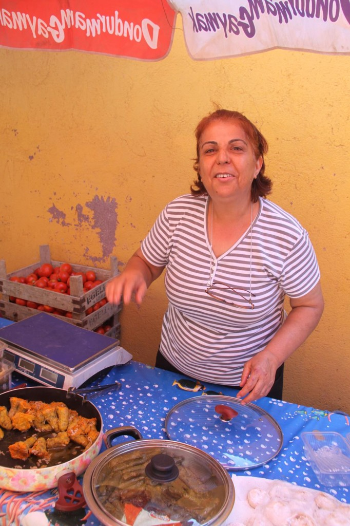 This Lady was very Proud of her Stuffed Zucchini Flowers and her Dolmades