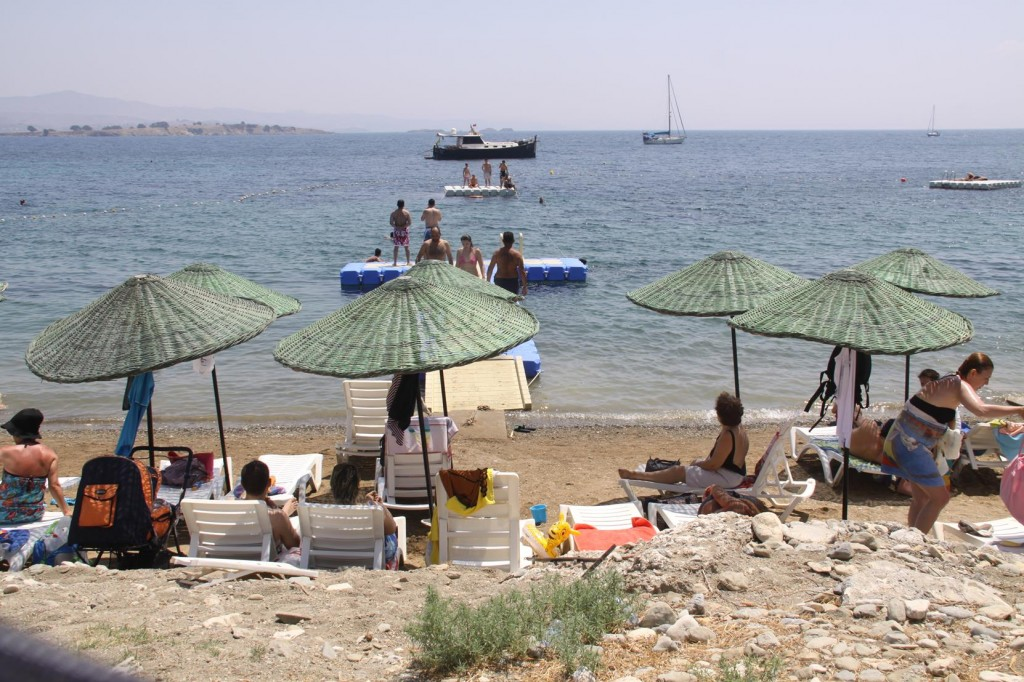 The Beach Along the Teos Site was Crowded with Weekend Visitors
