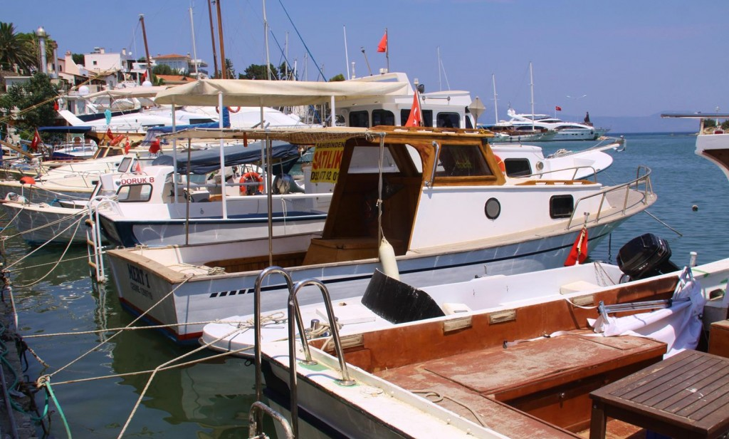 Boats of All Sizes are Moored Along the Dalyan Pier