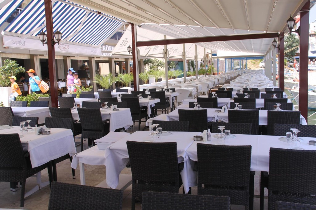 The Restaurants at the Dalyan Area Along the Pier  Wait for Lunch Guests
