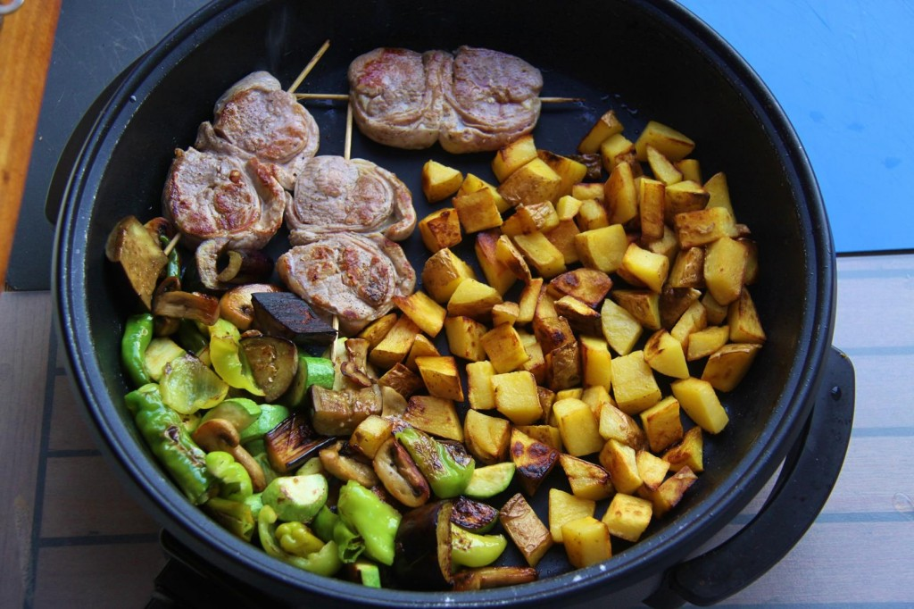 Lamb Cutlets, Grilled Vegetables and Potato Cubes on the Menu Tonight