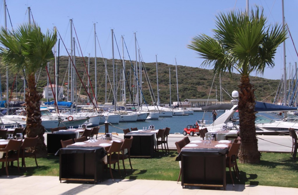The Restaurant has a Great Outlook over the Marina