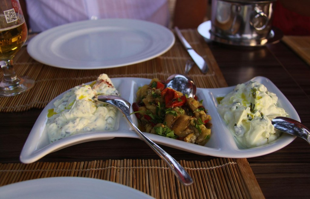 Great Mezes - Yoghurt and  Watercress, Aubergine and Yoghurt and Herb