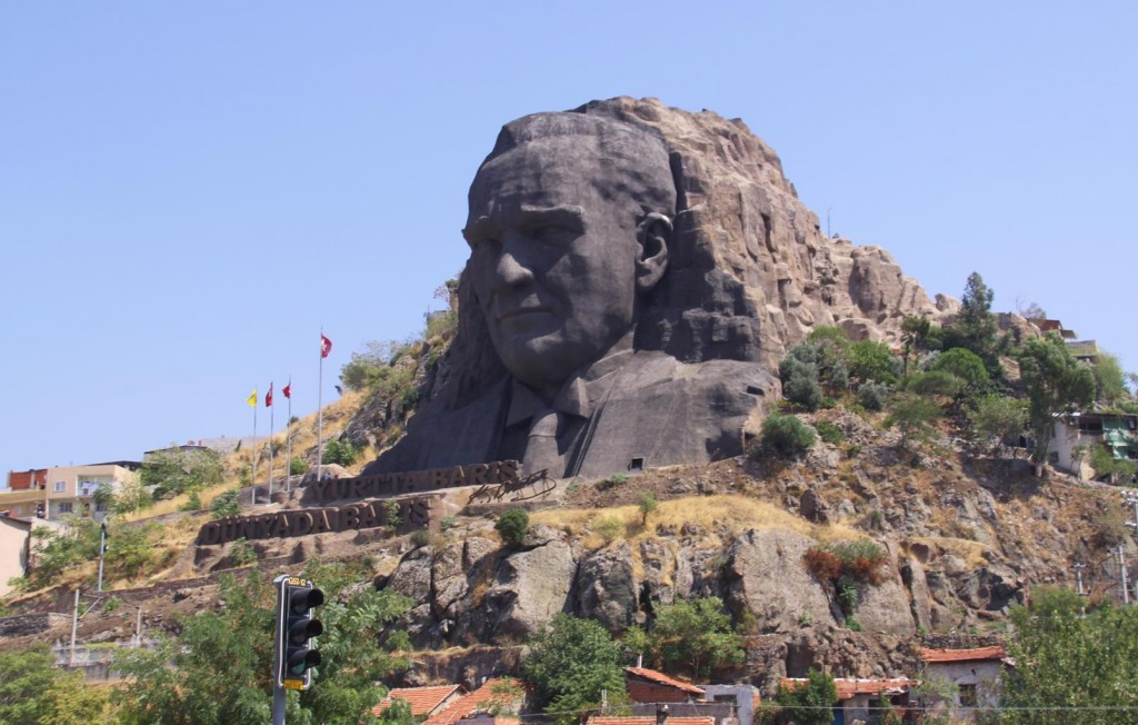 The Inscription under the Massive Carved Stone Head of Ataturk Reads: Peace at Home and Peace Around the Globe