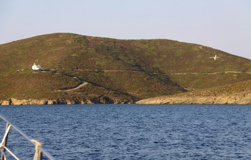 Barren Slopes with Only a Church and a Cross on the Hill on this Deserted Island