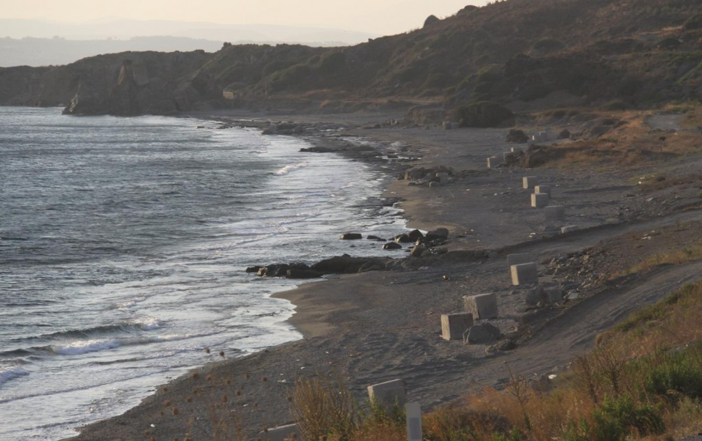 Passing this Beach Covered with Concrete Blocks on our Way Back to Sigacik Made us Wonder !!