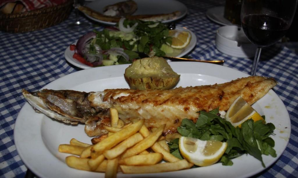 Grilled Octopus and Fresh Seabass for Dinner at the Fafri'nin Yeri Balik Restaurant