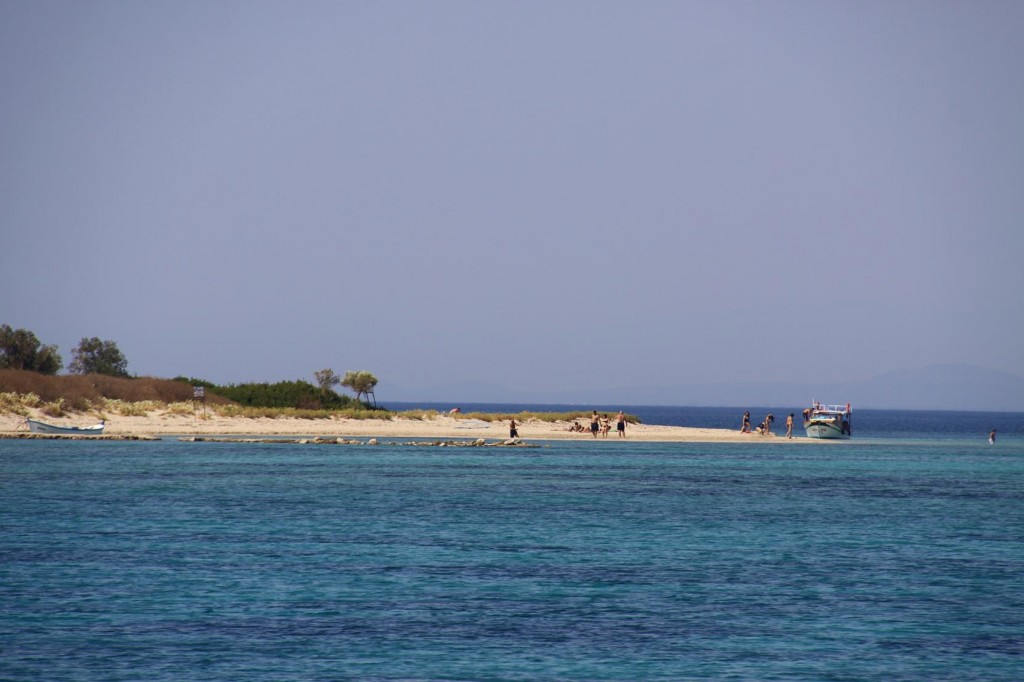 At the Northern Entrance to the Channel is a Small Beach Where Day Tripper Boats Visit Regularly