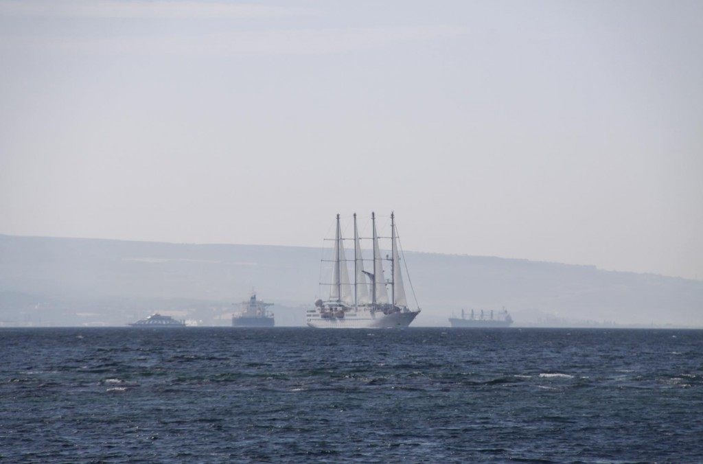 There is Quite a lot of Traffic Behind us in the Dardanelles Today
