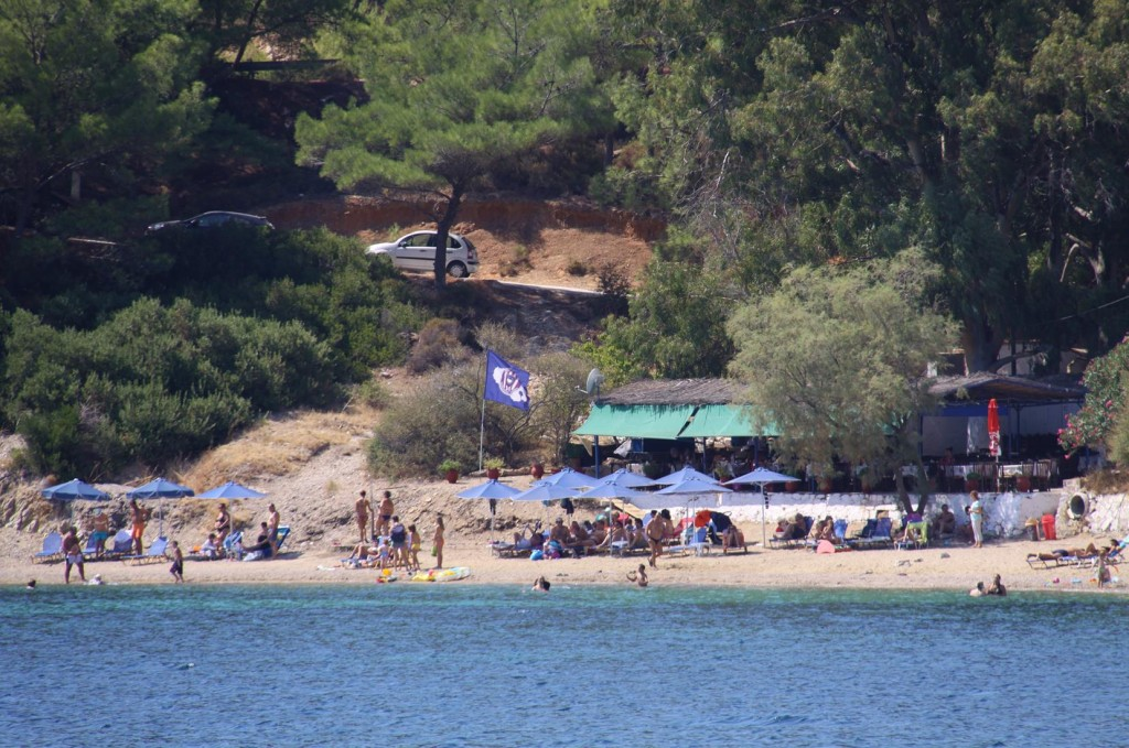 A Small Sandy Beach with a Small Restaurant in one Corner of the Bay is very Popular for Visitors