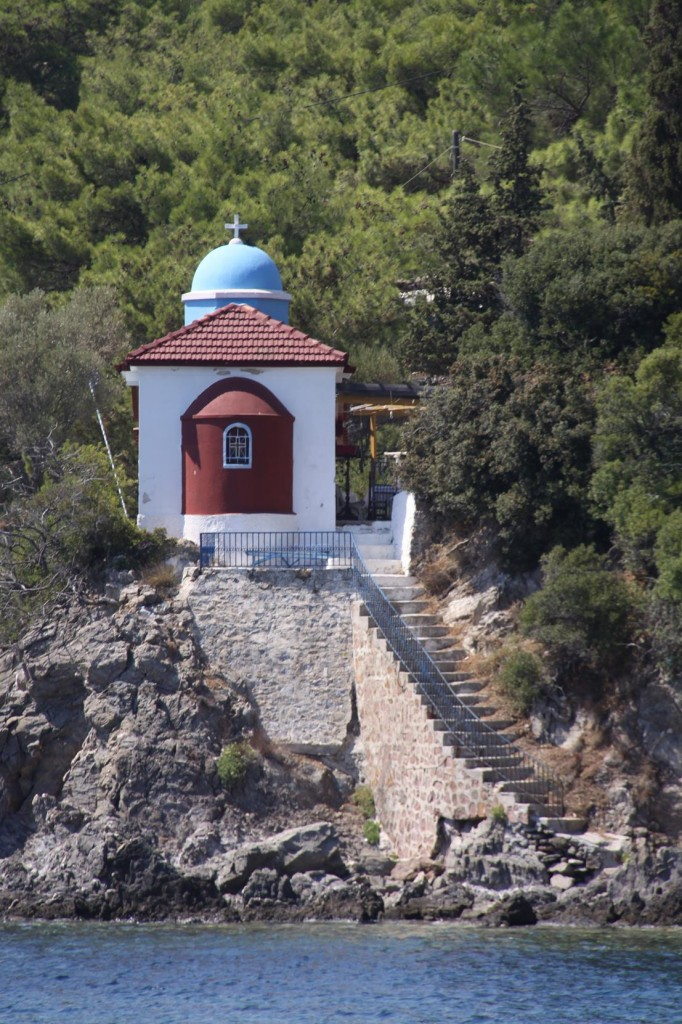 A Cute Little Church Seems to have Steps that Go into the Sea