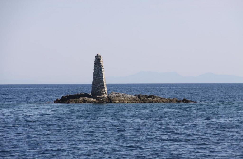Vrak Kaloyeros, the Stone Beacon that Marks the Entrance to Kolpos Yeras, a land Locked Gulf in the South East of Lesvos Island