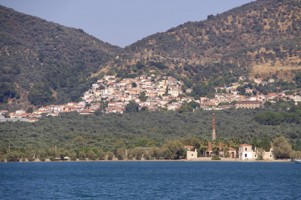 The Village of Skala Loutra on the Hill Behind the Tiny Port