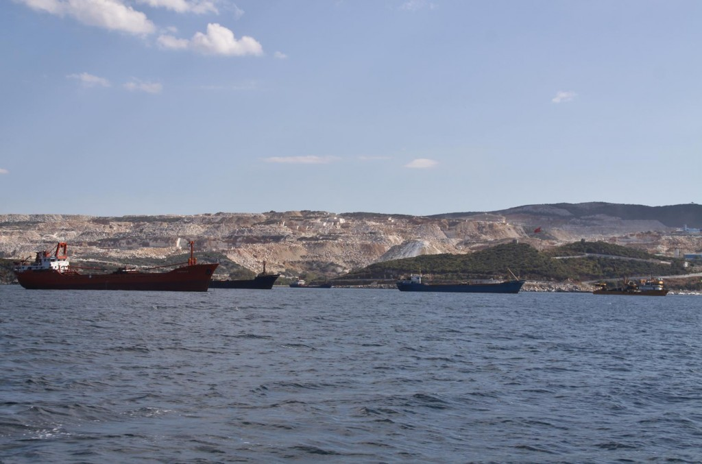 So Many Ships Waiting in Port to Load up the Marble for Export